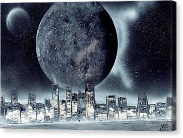Moon Lit City Canvas Print by Marc Chambers