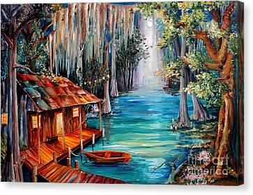 Moon On The Bayou Canvas Print by Diane Millsap