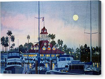 Moon Over Coronado Boathouse Canvas Print by Mary Helmreich