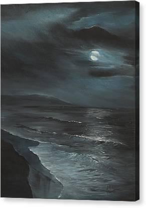 Moon Over Folly Canvas Print by Jennifer Ashe Thompson