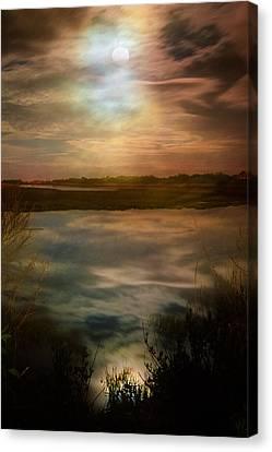 Moon Over Marsh - 35mm Film Canvas Print by Gary Heller