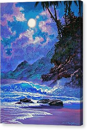 Moon Over Maui Canvas Print by David Lloyd Glover