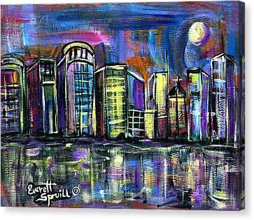 Moon Over Orlando Canvas Print by Everett Spruill