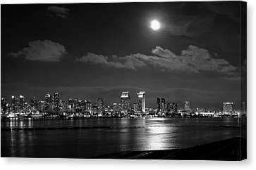 Moon Over San Diego Canvas Print by Mountain Dreams