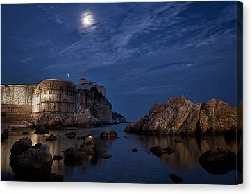 Moon Over The Bay - Dubrovnik Canvas Print by Stuart Litoff