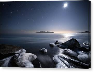 Moon Over Thunder Bay From Silver Harbour Canvas Print by Jakub Sisak