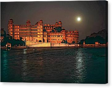 Moon Over Udaipur Canvas Print by Steve Harrington