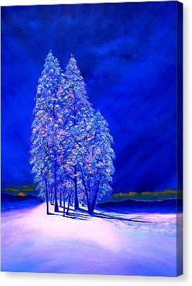 Moon Peeking At Frosty Trees Canvas Print by Reggie Hart