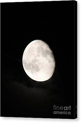 Moon Photographed In Black And White Canvas Print by John Telfer