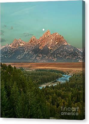 Moon Setting Canvas Print by Robert Bales