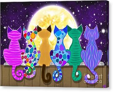 Moon Shadow Meow Canvas Print by Nick Gustafson