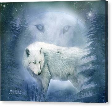 Moon Spirit 2 - White Wolf - Blue Canvas Print by Carol Cavalaris