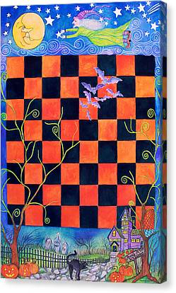 Flight Of The Moon Witch Checkerboard Canvas Print by Janet Immordino