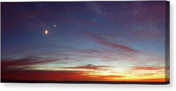 Moon With Jupiter And Venus Canvas Print by Luis Argerich