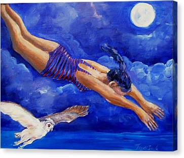 Moonbather  Canvas Print by Trudi Doyle