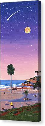 Moonlight Beach At Dusk Canvas Print by Mary Helmreich