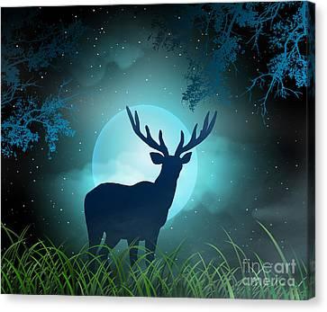 Moonlight Elk Canvas Print by Bedros Awak