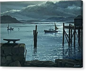 Moonlight On The Harbor Canvas Print by Paul Krapf