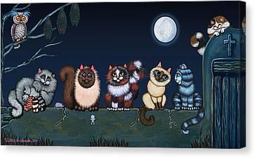 Moonlight On The Wall Canvas Print by Victoria De Almeida