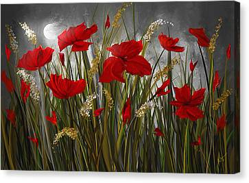 Moonlight Poppies - Poppies At Night Painting Canvas Print by Lourry Legarde