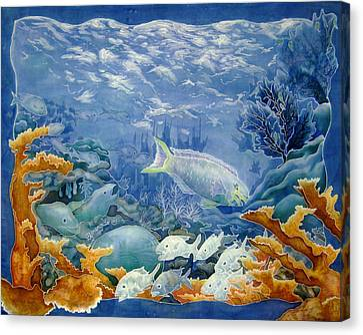 Moonlight Swim Canvas Print by Deborah Younglao