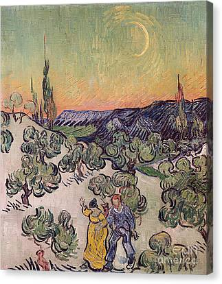 Moonlit Landscape Canvas Print by Vincent Van Gogh