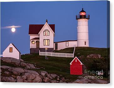 Moonrise At Nubble Light York Maine Canvas Print by Dawna  Moore Photography
