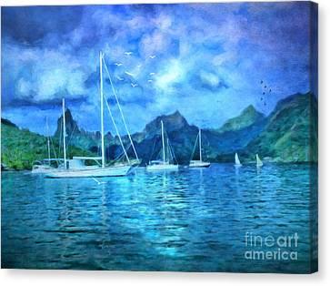 Moonrise In Mo'orea Canvas Print by Lianne Schneider