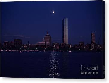 Moonrise Over Boston Skyline July 1982 Canvas Print by Thomas Marchessault