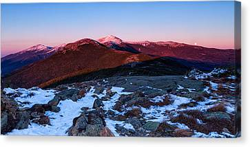 Moonrise Over The Presidential Range Canvas Print by Jeff Sinon