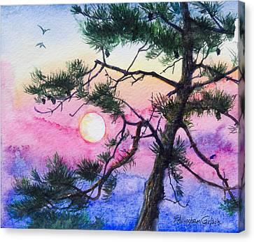 Moonrise Pine Canvas Print by Patricia Allingham Carlson