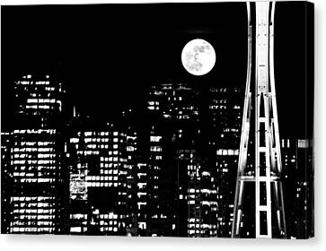 Moonrise Seattle Canvas Print by Benjamin Yeager