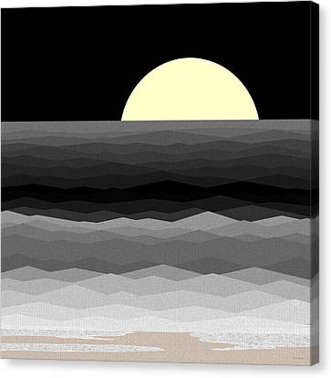 Moonrise Surf Canvas Print by Val Arie