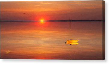 Moored At Sunset Canvas Print by Michael Petrizzo