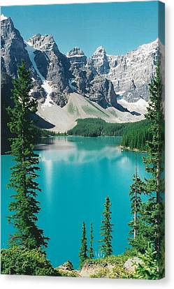 Moraine Lake 4 Canvas Print by Shirley Sirois