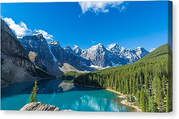 Moraine Lake At Banff National Park Canvas Print by Panoramic Images