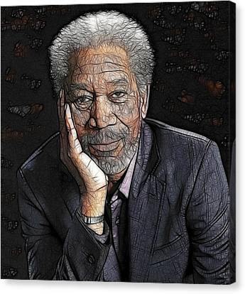 Morgan Freeman  Canvas Print by Georgeta Blanaru