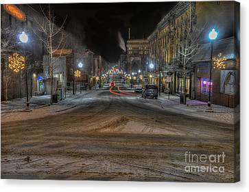 Morgantown High Street On Cold Snowy Night  Canvas Print by Dan Friend
