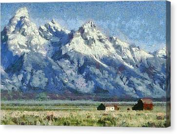 Mormon Row Historic District Grand Tetons Canvas Print by Dan Sproul
