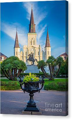 Morning At Jackson Square Canvas Print by Inge Johnsson