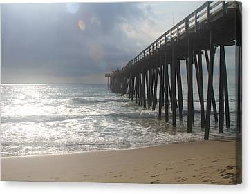 Morning At Rodanthe Pier 8 Canvas Print by Cathy Lindsey