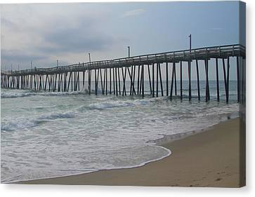 Morning At Rodanthe Pier 13 Canvas Print by Cathy Lindsey