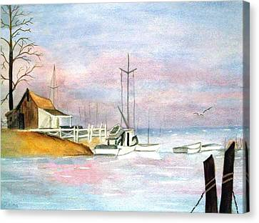 Morning At The Harbor Canvas Print by Zelma Hensel