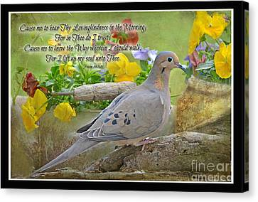 Morning Dove With Verse Canvas Print by Debbie Portwood