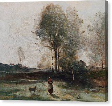 Morning In The Field Canvas Print by Jean Baptiste Camille Corot