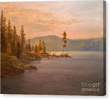 Morning Light On Coeur D'alene Canvas Print by Paul K Hill