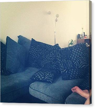 Sofa Canvas Print featuring the photograph #morning #london #sofa #comfy by Sophie Hayes