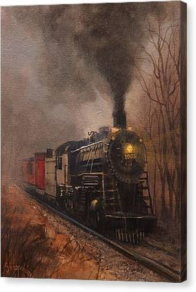 Morning Mist Soo Line 1003 Canvas Print by Tom Shropshire