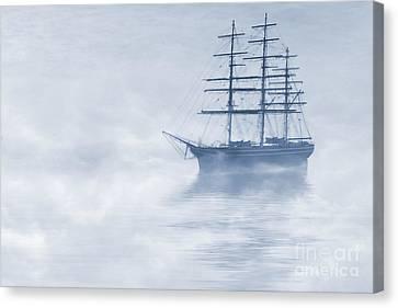 Morning Mists Cyanotype Canvas Print by John Edwards