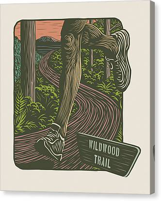 Morning Run On The Wildwood Trail Canvas Print by Mitch Frey